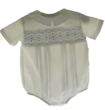 Bow Peep Infant Boys Christening Bubble Outfit Smocked in Blue
