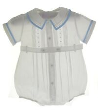 Infant Boys White Belted Bubble Outfit - Feltman Brothers