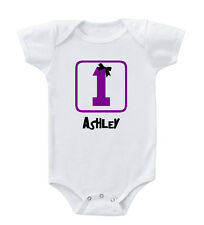 First Baby Girl Birthday Mustache Custom Infant Toddler Baby Bodysuit One Piece