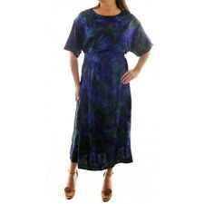 Plus Size We Be Bop Hand Crafted  Artsy Batik BLUE PRISM Flat Rayon EASY Dress