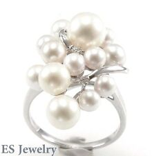 18K White Gold 14 pcs White Round Cultured Pearl 0.04 cts Diamond Ring Sz5-9
