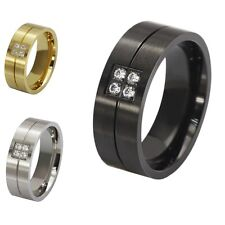 New Size 6-14 Luxury Band Stainless Steel White Topaz Womens Mens Wedding Rings