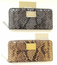 MICHAEL KORS ITEMS BLACK,GRAY+BROWN PYTHON EMBOSSED LEATHER CLUTCH,WALLET-NEW