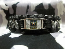 """CUSTOM United States Army """"ARMY STRONG"""" 550lb Paracord Bracelet w/ Buckle"""