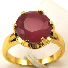 Size 7,7.5,8 Ring,Size 7 Ring,REAL POSH 18K YELLOW GOLD GP RED CORUNDUM GEMSTONE
