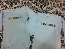 DOUBLE & TROUBLE - BABY BOY BODYSUITS - SET OF 2 FOR TWINS - BOYS -LONG SLEEVED