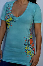 Sinful by Affliction QUISCO Women's V-Neck T-Shirt w/ Rhinestones S2207 - Aqua