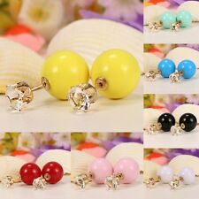 Women 1Pair Ear Stud Round Shape Resin Rhinestone Ear Fashion Jewelry B20E