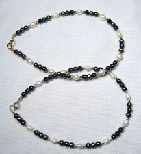 Lyns Jewelry Hematite and Freshwater Pearl Anklet Silver or Gold