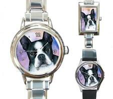 Italian Charm Metal Watch Dog 128 Boston Terrier art painting L.Dumas