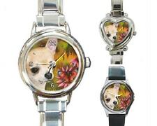Italian Charm Metal Watch Round Square Dog 85 Chihuahua art painting L.Dumas
