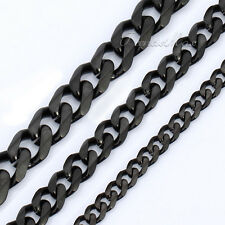 3/5/7mm Boys MENS Chain Black Tone Curb Link Stainless Steel Necklace 18-36''