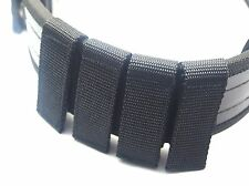 4 POLICE SECURITY GUARD BLACK NYLON DUTY BELT KEEPERS HOOK & LOOP FIT BELTS 2""