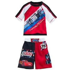 Disney Store Cars Lightning Mcqueen Rash Guard And Swim Trunks Set Boy Size 5/6