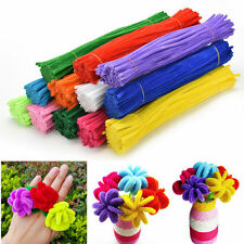 "New Wholesale 20/100Pcs 30cm/12"" Chenille Craft Stems Pipe Cleaners Beauty"