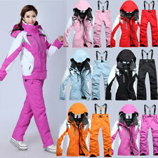 Waterproof Women's Ski Suit Thicken Skiing/Snowboarding Salopettes Jacket+Pants