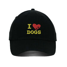 I Love Dogs Heart Paws Embroidered SOFT Unstructured Adjustable Hat Cap
