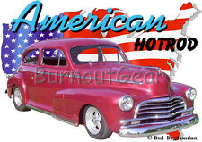 1946 Red Chevy 2 Door Sedan Custom Hot Rod USA T-Shirt 46, Muscle Car Tee's