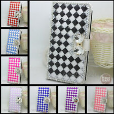 Shine Bling Crystal Diamonds PU leather flip slots stand wallet case cover P4