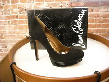 Sam Edelman Ulysa Black Suede Platform Pumps NEW