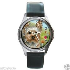 Round Square Watch Metal Gold Italian Charm Dog 117 Yorkie Yorkshire art L.Dumas