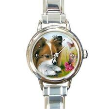 Round Italian Charm Metal Watch Dog 123 Papillon Butterfly art painting L.Dumas