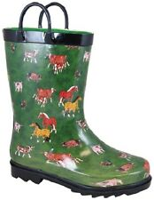 NEW! Smoky Mountain Boots - CHILD'S - Western Rubber Rain -Green Farm Animals