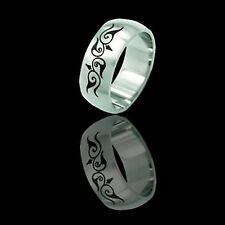 Etched Tribal design Stainless Steel Ring - 2 many sizes fnt
