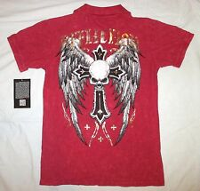 NWT Men's M XL AFFLICTION RED Golf POLO SHIRT Wings SKULL CROSS Collar GOLD FOIL