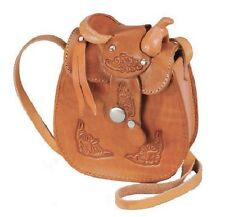 """New! Small Leather Saddle Purse 5"""" x 6"""" - Natural Brown Black and Wine/Burgundy"""