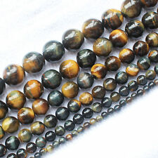 Natural Yellow&Blue Tiger's eye Round 4-16mm Loose Beads 15""