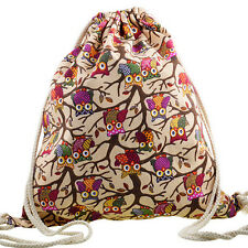 Travel Canvas Owl String Drawstring Backpack Cinch Sack Sling Bag Gym Tote JG