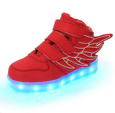 Boys Girls LED Light up USB Charger Sport Sneakers Wings Kids Boots Shoes CV21