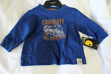 CARHARTT BOYS FULL STEAM AHEAD BLUE LONG SLEEVE TEE SHIRT NEW CA8220