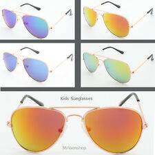 Childrens Kids Boys Girls Flash Lens Metal Aviator Sunglasses Coloured Lens
