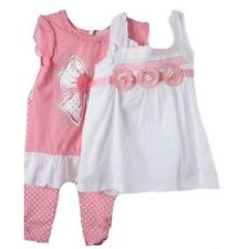 Precious Little Girls Pink & White 3 Pc Boutique Lace Tops/Leggings Set Nannette