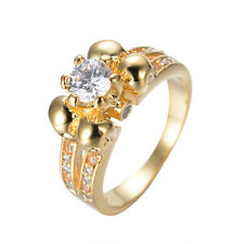 White Sapphire Skull Band Women's 10KT Yellow Gold Filled Wedding Ring Size 5-10