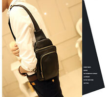 Men PU Leather Casual Crossbody Chest Bag Shoulder Messenger Bag Sling Fanny New