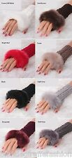 """Faux Fur Trim Fingerless Acrylic Sweater Knit Gloves/Hand Warmers 7"""" *8 Colors"""