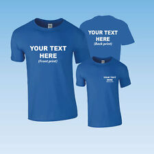 CUSTOM PRINTED PERSONALISED T-SHIRT- ROYAL + YOUR OWN TEXT OR SIMPLE GRAPHIC