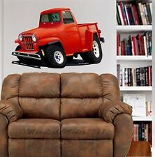 1958 WILLYS JEEP PICKUP WALL GRAPHIC  DECAL MAN CAVE ROOM GARAGE 6713