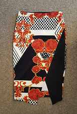 River Island Black Red Floral Print Layered High Waist Bodycon Party Skirt 8 NEW
