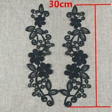 1Pair Venise Fabric Lace Patches Guipure Wedding Dress Appliques White/Black