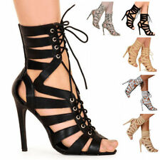 LADIES WOMENS LACE UP HEELS CUT OUT SHOES PARTY EVENING GLADIATOR SANDALS SIZE