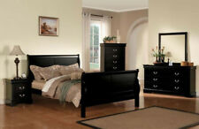 NEW 4PC LOUIS PHILIPPE III BLACK FINISH WOOD QUEEN or KING SLEIGH BEDROOM SET