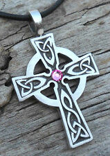PEWTER Wales CELTIC CROSS Irish ROSE PINK Crystal OCTOBER Birthstone Pendant