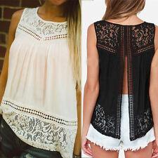 Womens Summer Fashion Vest Top Sleeveless Blouse Casual Tank Tops T-Shirt Lace