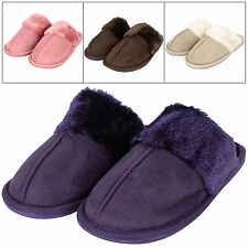 Ladies Slip On Mule Faux Sheepskin Cosy Slippers With Textured Gripped Sole New