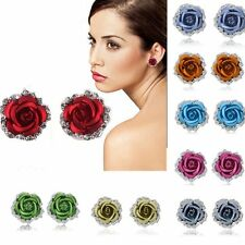 Trendy Women Rose Flower Crystal Rhinestone Ear Stud Pierced Earrings Hot Style