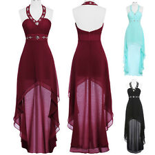 High-Low Formal Halter Dress Wedding Bridesmaid Evening Prom Cocktail Ball Gown
